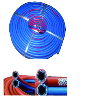"""NICHIYO"" (RUBBER) Twin Hose Red/Blue CN"
