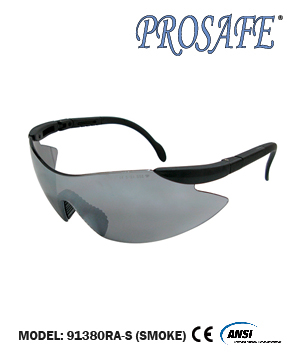 91380RA Adjustable Temple Safety Eyewear (smoke lens)