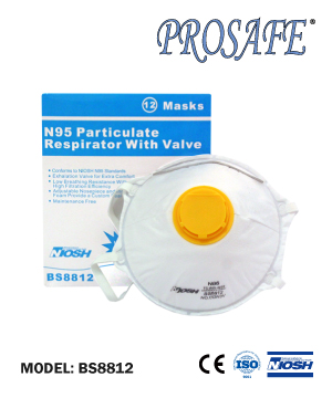 BS8812 NOISH N95 Particulate Respirator With Exhalation Valve