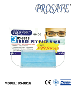 BS8818 Three Ply Mask- Nelson Lab (USA) Certified