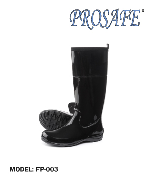 Black Rubber Boots w/o Toe Cap