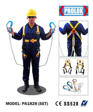 """PROLOK"" Aluminium Full Body Harness with Double Lanyard Set PSB Approved"