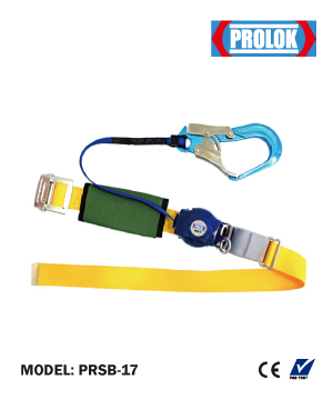 """PROLOK"" Safety Belt with Retractable Lanyard & Aluminium Big Snap Hook"