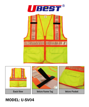 """U-BEST"" Zip Type Green Safety Vest with Red/Grey Reflective, Pockets & Velcro Name Tag"