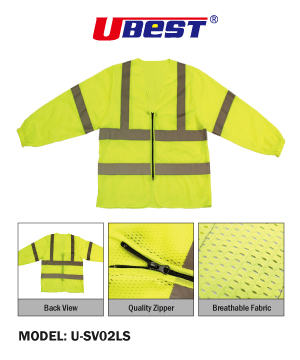 """U-BEST"" Long Sleeve Zip Type Safety Vest with Reflective"