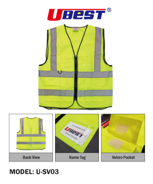 """U-BEST"" Zip Type Safety Vest with Grey Reflective, Pocket & Name Tag"