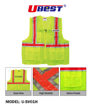 Hyundai Zip Type Green Safety Vest with Red Reflective & Pocket