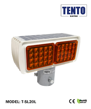 """TENTO"" Yellow Solar LED Strobe Light"