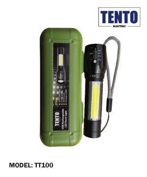 """TENTO"" USB Rechargeable LED Torch Light c/w Hard Casing"
