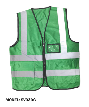Zip Type Dark Green Safety Vest w Grey Reflective, Pocket & Name Tag
