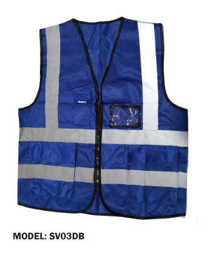 Zip Type Dark Blue Safety Vest w Grey Reflective, Pocket & Name Tag