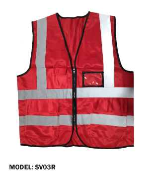 Zip Type Red Safety Vest w Grey Reflective, Pocket & Name Tag