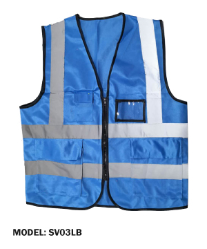 Zip Type Lake Blue Safety Vest w Grey Reflective, Pocket & Name Tag